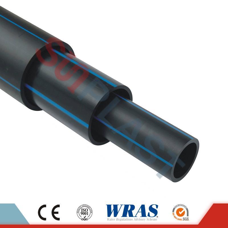 HDPE-putki (polyputki) musta / sininen väri vesihuoltoon
